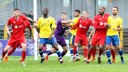 St Albans City are well-marshalled by the Eastbourne Borough defence. Picture: JIM STANDEN