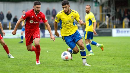 Andronicos Georgiou in action for St Albans City against Eastbourne Borough. Picture: JIM STANDEN
