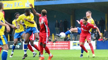 James Kaloczi tries to get a shot away for St Albans City against Eastbourne Borough. Picture: JIM S
