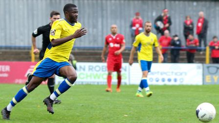 Solomon Nwabuokei in action for St Albans City against Eastbourne Borough. Picture: JIM STANDEN