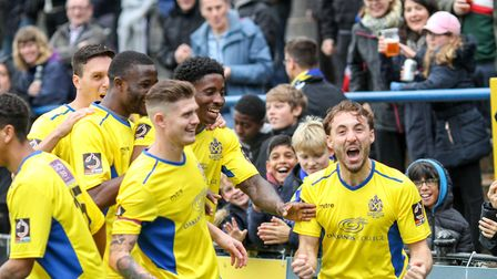 St Albans City celebrate taking the lead against Eastbourne Borough. Picture: JIM STANDEN
