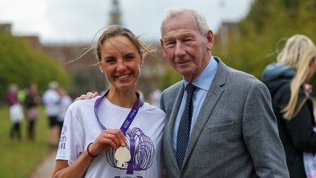 Lizzie Erian with Bob Wilson after the 2019 Willow 10K run at Hatfield House. Picture: DANNY LOO