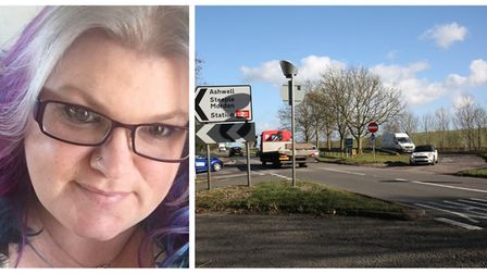 Royston campaigner Lynsey Langdon, and the A505 Odsey turning. Pictures: Lynsey Langdon/Danny Loo