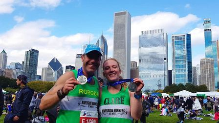 Riverside Runners duo Gary Reader and Clare Jenkins at the Chicago Marathon. Picture: SUBMITTED
