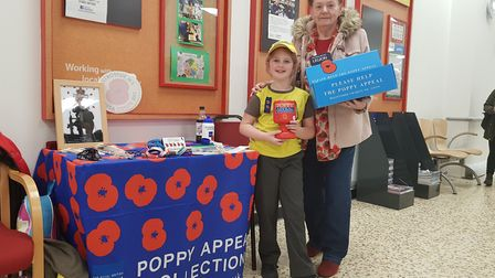 Naomi Digby and Shirley Moore selling poppies at Royston's Tesco Extra in Old North Road. Picture: L
