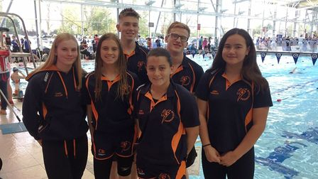 St Ives Swimming Club racers, from the left, Ciara Taylor, Chloe Butler, Connor Thacker, Cathryn Tho