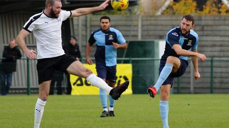 Returning player Jonny Butler in action during St Neots Town's clash with Daventry Town. Picture: DA