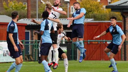 Action from St Neots Town's clash with Daventry Town. Picture: DAVID R. W. RICHARDSON/RICH IN VIDEO
