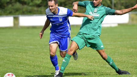 Micky Hyem on the ball for Godmanchester Rovers in their victory against Gorleston. Picture: DUNCAN