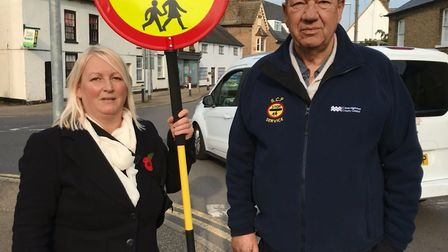 Councillor Simone Taylor and crossing patrol service manager at the county council, Andy Swallow. Pi