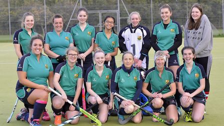 St Ives Ladies 3rds are back row, left to right, Hannah Rose, Elaine Jones, Sophie Burnley, Kay Sero