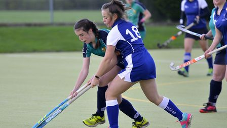 Action from St Ives Ladies 3rds clash against Cambridge Nomads 2nds. Picture: DUNCAN LAMONT