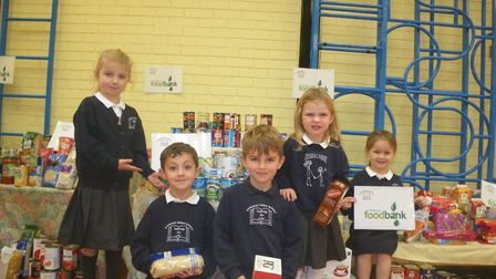 Pupils from Crosshall Infants School collected items for the St Neots Foodbank