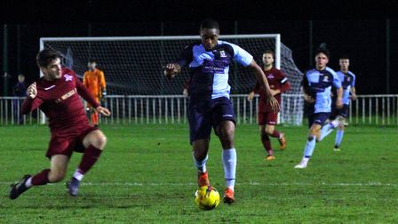 Daniel Olusemo in his first St Neots appearance at Welwyn Garden City on Tuesday. Picture: DAVID R.