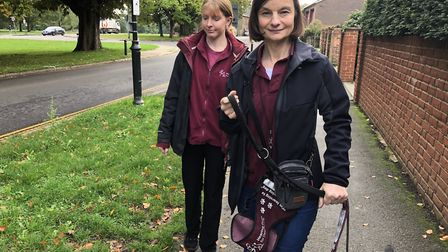 Trudi Waterhouse, volunteer, and puppy trainer, Caroline Ayres of Hearing Dogs For Deaf People out d
