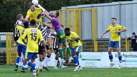 Tom Bender in action for St Albans City against Bath City at Clarence Park. Picture: JIM STANDEN