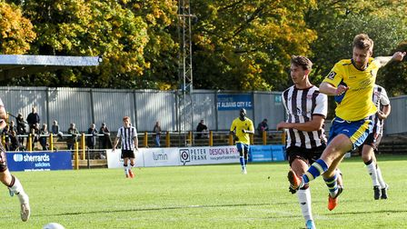 David Noble in action for St Albans City against Bath City at Clarence Park. Picture: JIM STANDEN