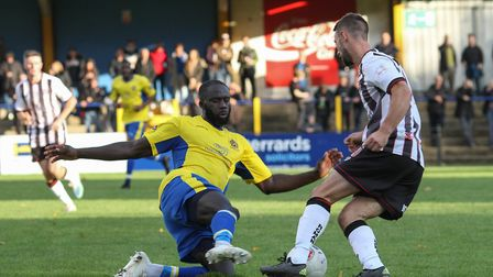 David Diedhiou in action for St Albans City against Bath City at Clarence Park. Picture: JIM STANDEN