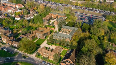 An aerial view of the Welcombe House Collection, Harpenden. The apartment is in Welcombe House, the