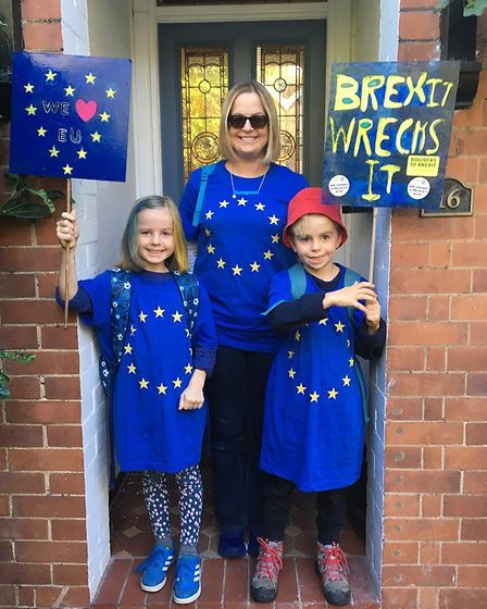 Campaigners from St Albans for Europe took part in the People's Vote March in London. Picture: Sophi