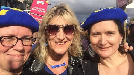 Campaigners from St Albans for Europe took part in the People's Vote March in London. Picture: Susan