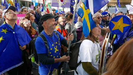 Campaigners from St Albans for Europe took part in the People's Vote March in London. Picture: Esthe