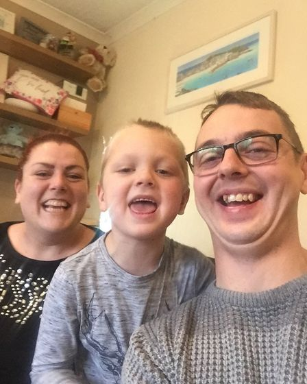 Jenson Westwood with his mum Charlotte and dad Ryan at their Meldreth home. Picture: Ryan Westwood