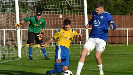 Lee Bassett of Eynesbury United during their victory against Hemingfords United. Picture: SIMON COOP