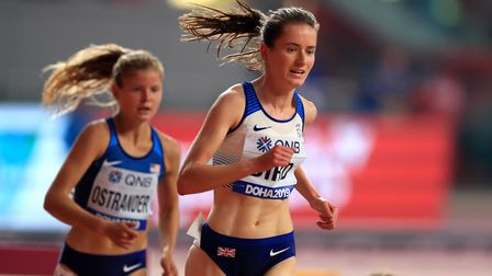 Lizzie Bird in action in the World Championship 3,000m steeplechase. Picture: MIKE EGERTON/PA
