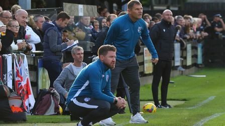 Royston boss Steve Castle during the FA Cup tie with Maldon & Tiptree. Picture: David Hatton