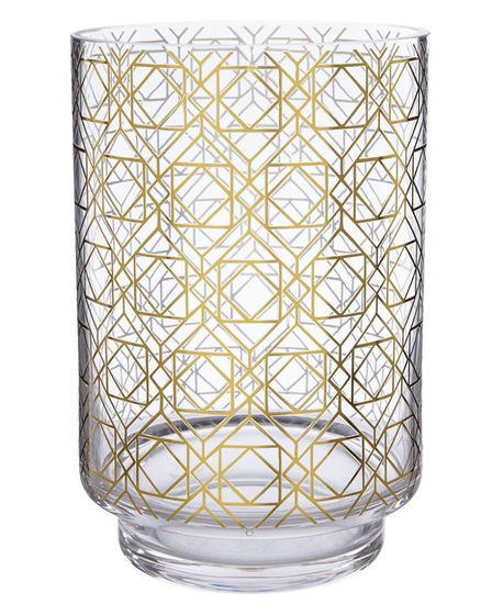 Measure up with metallics: Gold Geo Hurricane Vase, £6, available from selected George Home/Asda sto