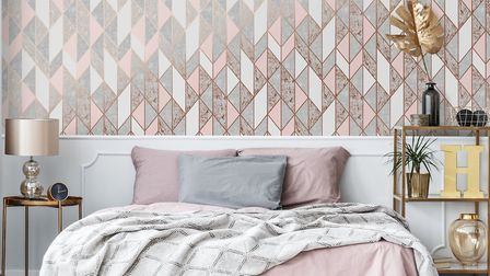 Measure up with metallics: Milan Geometric Patterned Wallpaper, £15.99 a roll, Cult Furniture. Pictu