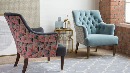 Pattern to the power of two: Parker Knoll Fitzrovia Chairs in Bracklyn Charcoal & Welton Auburn (lef