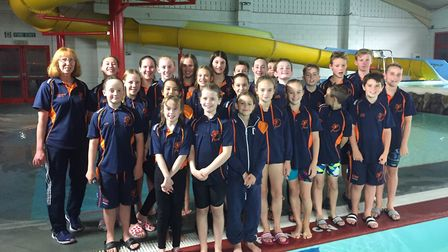 The St Ives Swimming Club squad at the Junior Fenland League 'A' Final. Picture SUBMITTED