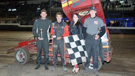 Guy Jolly (second left) celebrates his victory. Picture: COLIN CASSERLEY