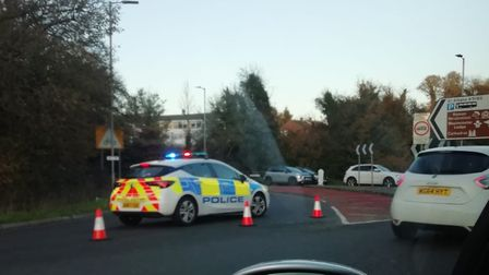 A road is closed in St Albans after a crash on the Park Street roundabout. Picture: Archant