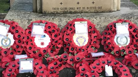 Poppy wreaths were laid at the war memorial on Eaton Socon Green