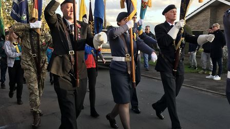 The Remembrance parade in Eaton Socon on Sunday