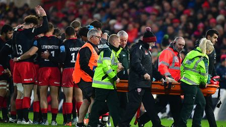 Saracens' Ralph Adam-Hale goes off with an injury during the Gallagher Premiership match at Kingshol