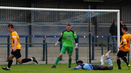 Prince Mutswunguma is down on the deck during St Neots Town's defeat to Aylesbury United. Picture: D