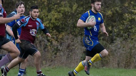 Try-scorer Max Flint on the charge for St Ives 2nds. Picture: PAUL COX