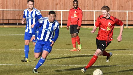 Dom Lawless hit a last-gasp winner from the penalty spot for Eynesbury Rovers. Picture: J BIGGS PHOT