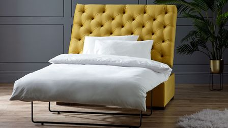 Tidy: Alison Bed in a Box in British Goldenrod, £529, from Living It Up. www.livingitup.co.uk