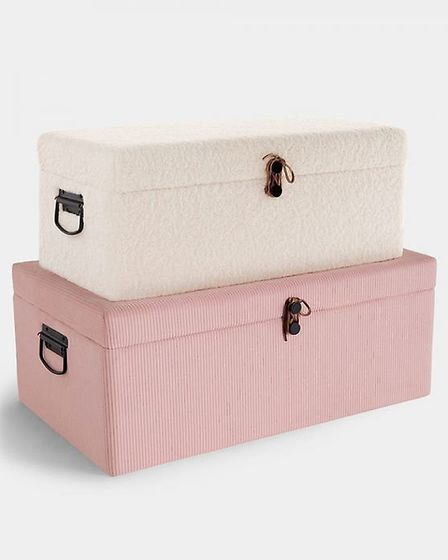 Comfort in store: Cord & Faux Shearling Storage Trunks – Set of two, £69.99 https://www.beautify.co.