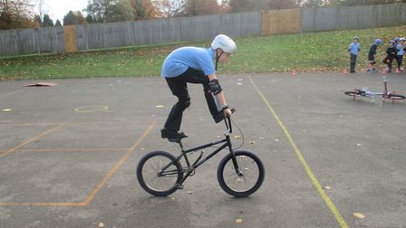 BMX champion Mike Mullen visited The Lea Primary School in Harpenden. Picture: The Lea Primary Schoo