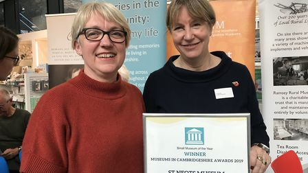 Lesley Sainsbury and Liz Davies at the museum with the award