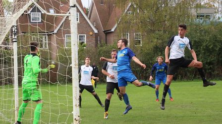 James Todd goes close for AFC London Road against Hilltop in the Herts Ad Sunday League Premier Divi