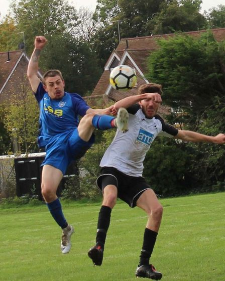 Simon Cerri of AFC London Road in action against Hilltop in the Herts Ad Sunday League Premier Divis