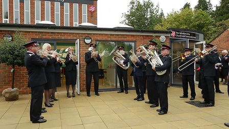 The brass band celebrating the opening of Harpenden Salvation Army's new building. Picture: Salvatio