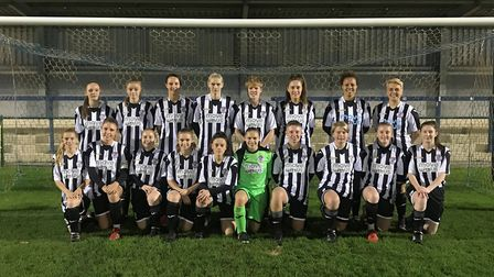 The St Ives Town Ladies team beaten in the Hunts Women's Premier Cup final on Tuesday are back row,